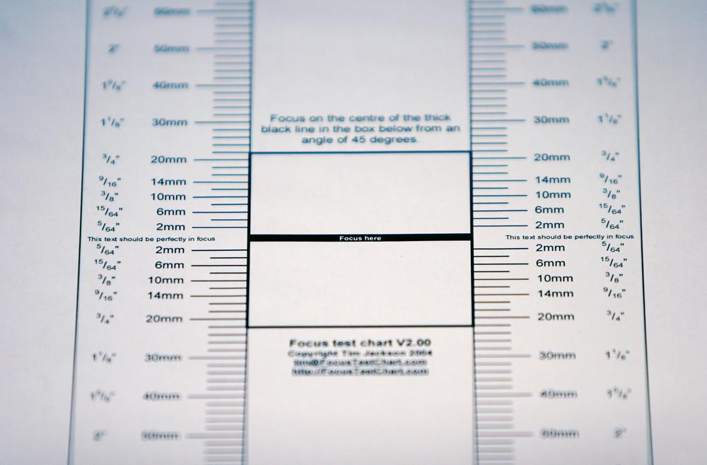 mit Hilfe dieser Fokus-Test-Chart kann die AF Treffsicherheit getestet werden.